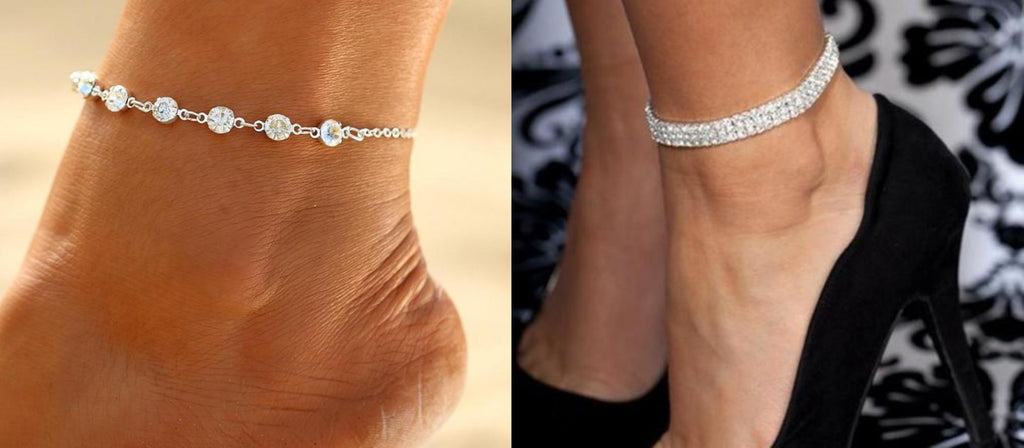 Rhinestone Crystal Anklets by Classy Women Collection
