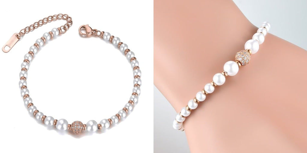 Rose gold pearl and crystal bridesmaid bracelet for weddings