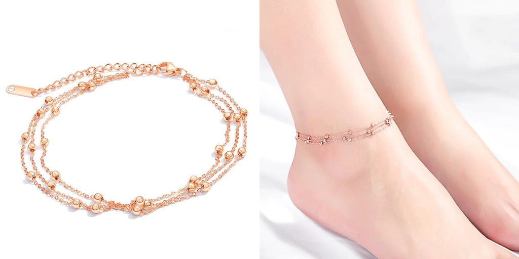 Rose gold multilayer ankle chain