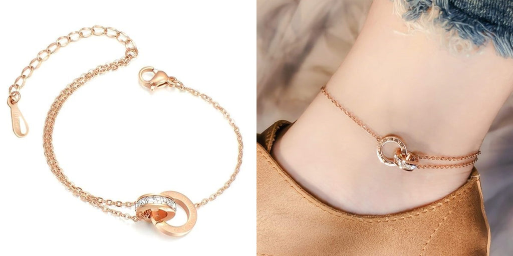 Rose gold roman chain anklet