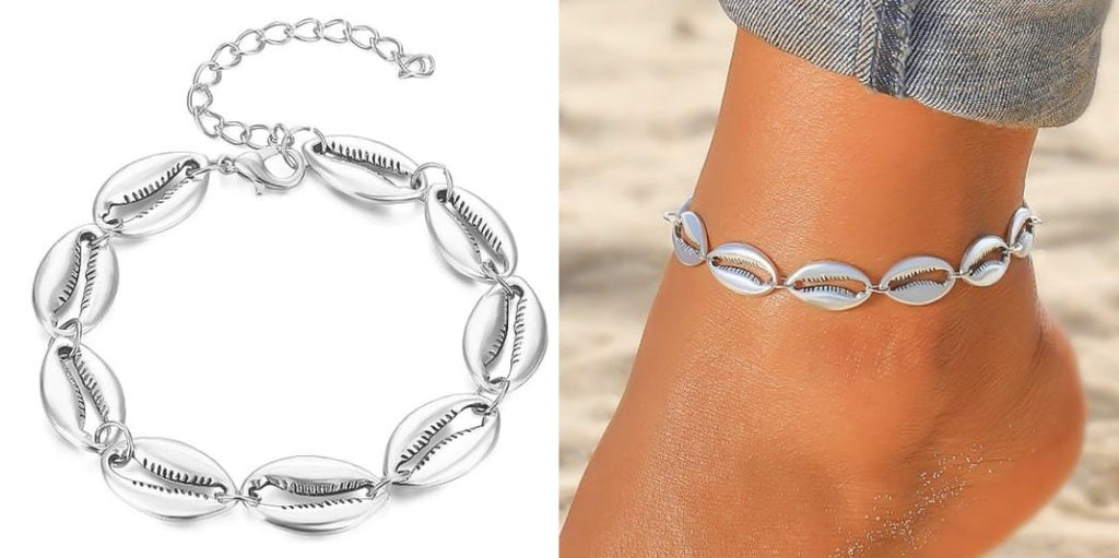 Silver Cowrie Shell Anklet