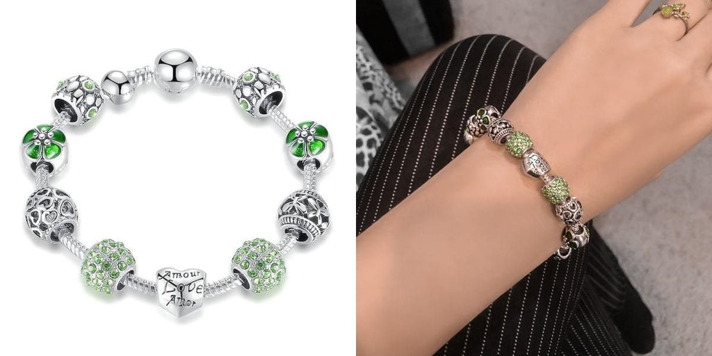 Silver and green lucky charm bracelet