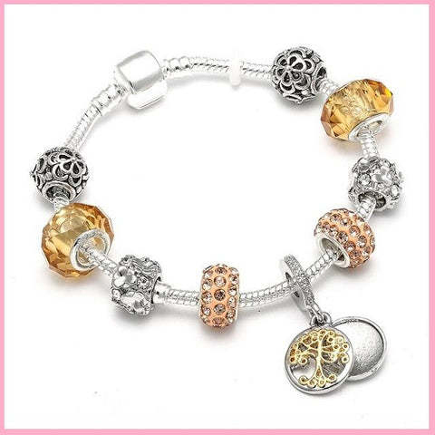 Silver tree of life charm bracelet