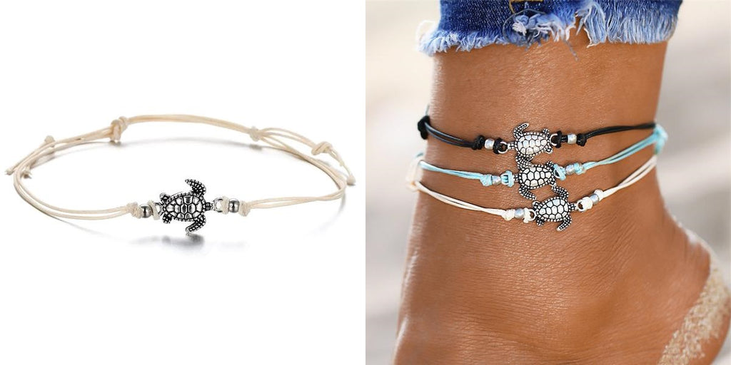 Silver turtle anklet with white cord