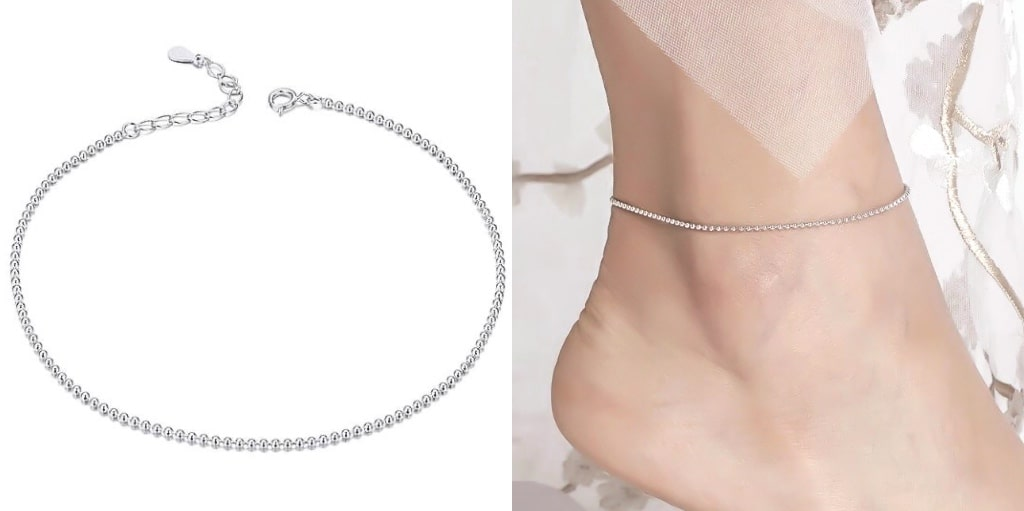Sterling Silver Beaded Chain Anklet