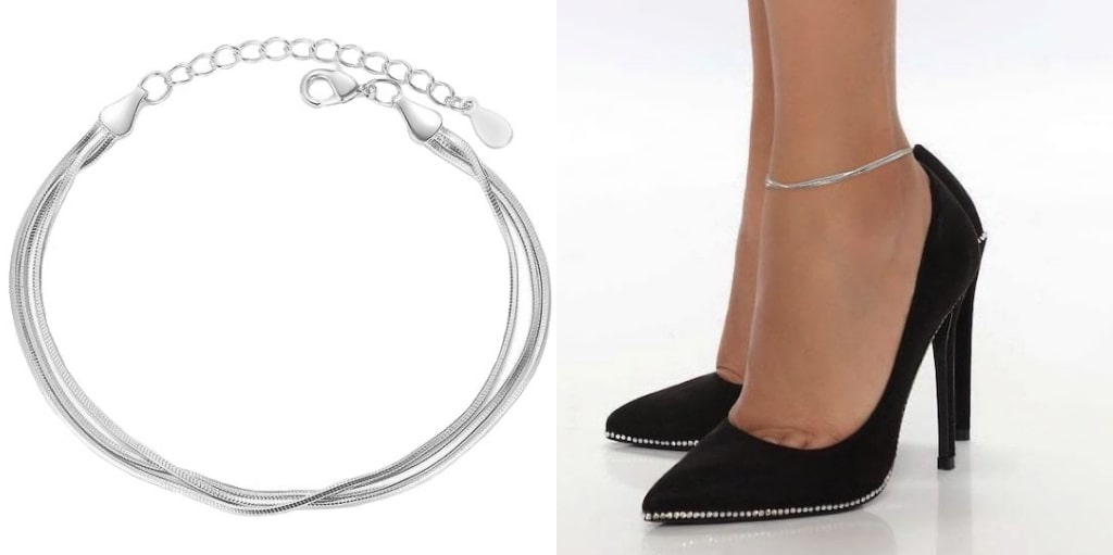 Sterling Silver Layered Snake Chain Anklet