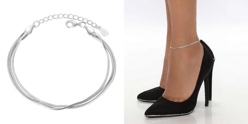 Layered sterling silver snake chain anklet