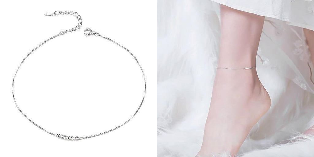 Sterling silver bead ankle chain