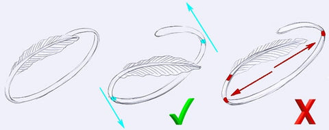 Sterling silver feather cuff bracelet instructions for proper use