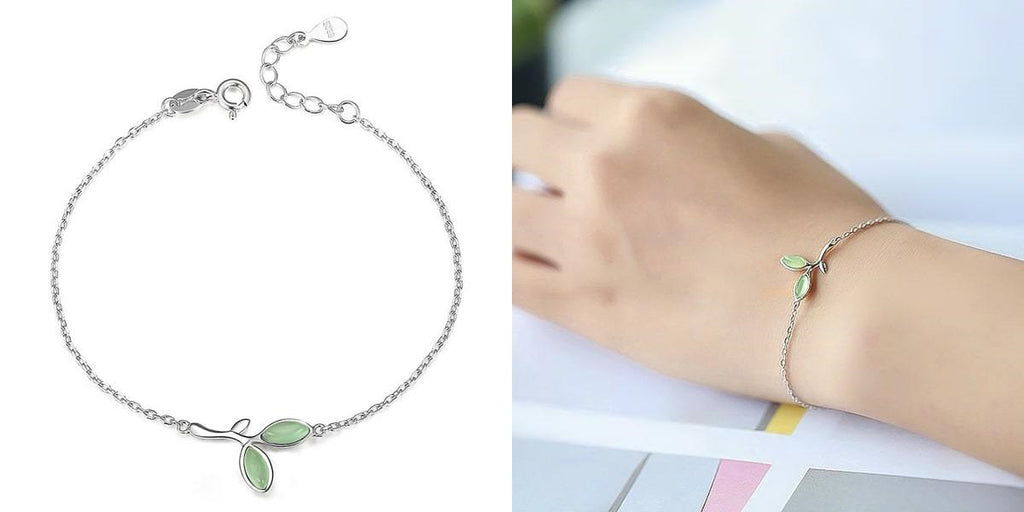 Silver chain bracelet with green leaves for her