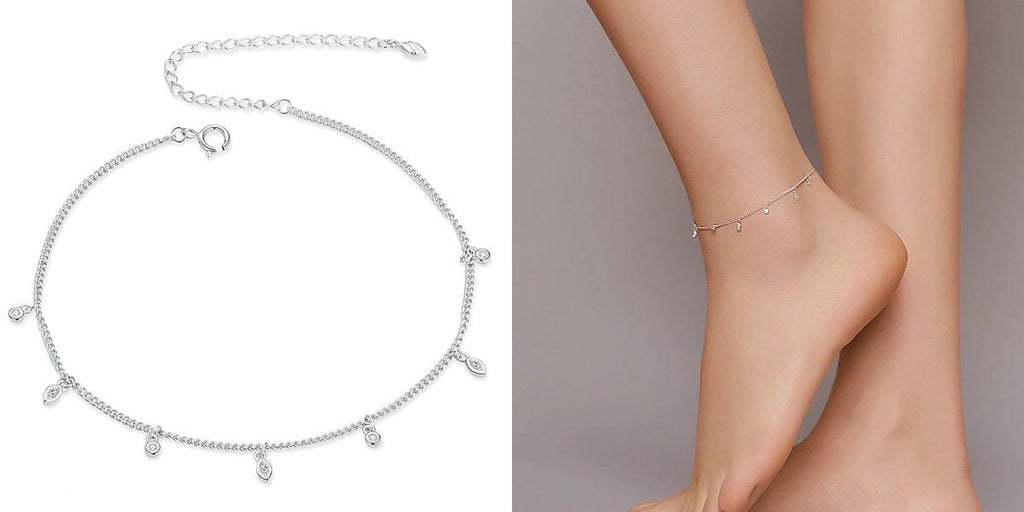Sterling silver lucky charm ankle chain