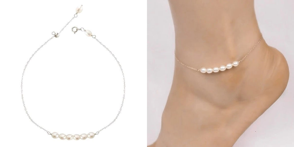 Sterling silver pearl chain anklet