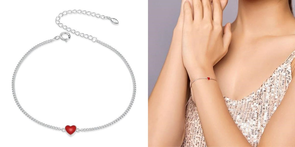 Silver bracelet with a red heart for her
