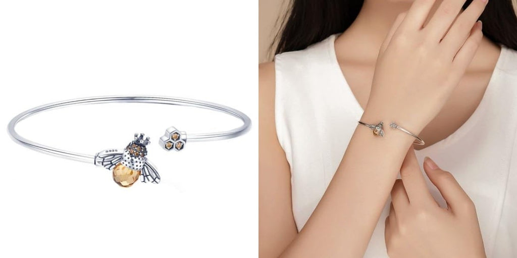 Sterling silver bee cuff bracelet for summer