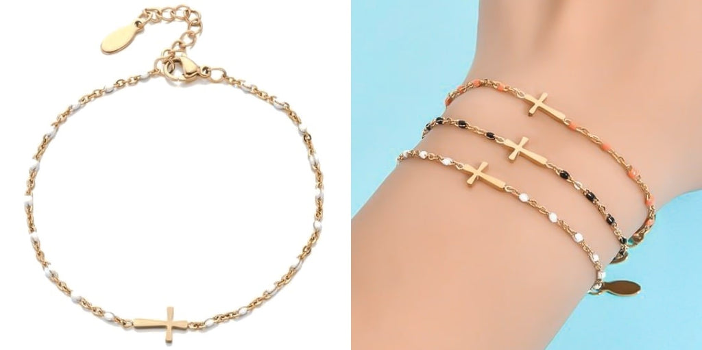 Summer cross bracelet with gold chain and white beads