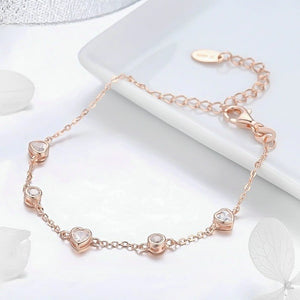 10K rose gold vermeil crystal bracelet close up details