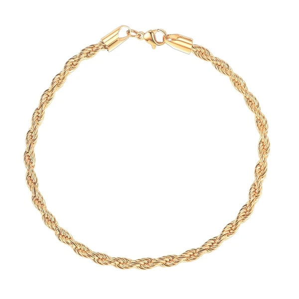 2mm gold rope chain bracelet
