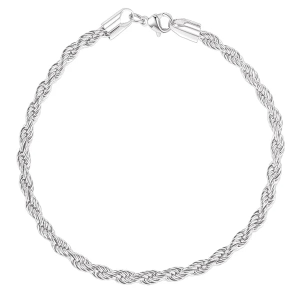 4mm silver rope chain bracelet
