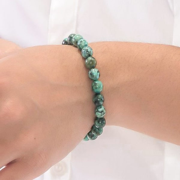 Beaded African Turquoise bracelet on a woman's wrist
