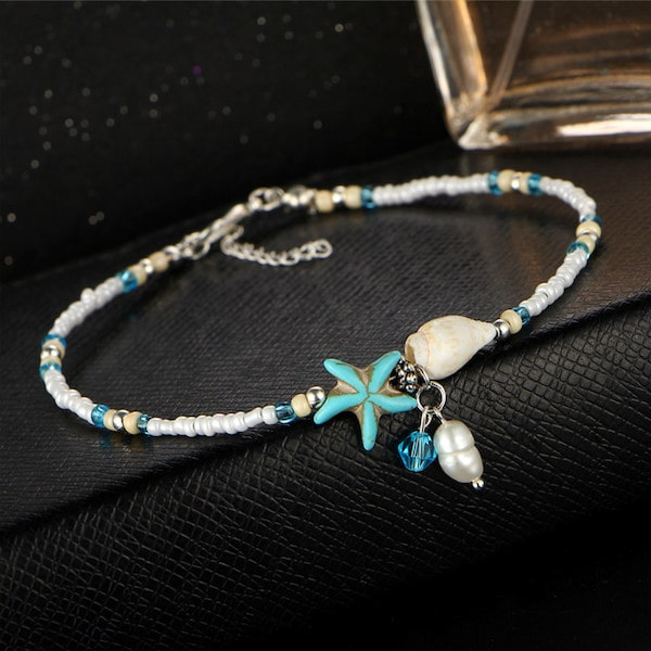 Beaded Ocean Anklet With Seashell, Starfish & Pearl Beads