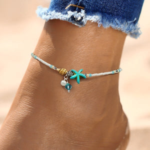 Beaded Ocean Ankle Bracelet With Seashell, Starfish & Pearl