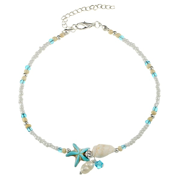Beaded Ocean Anklet With Seashell, Starfish & Pearl