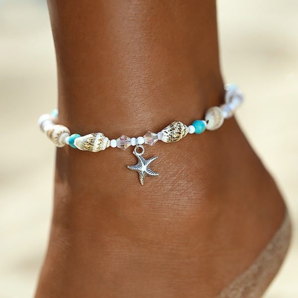 Beaded Seashell Ankle Bracelet