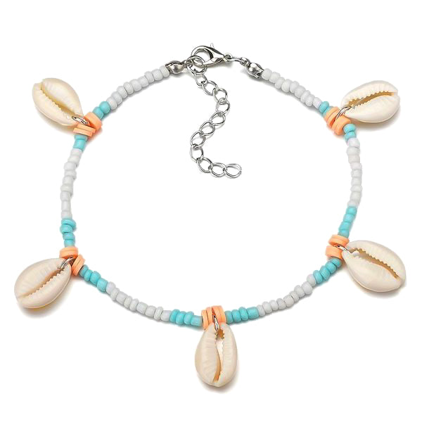 Beaded seashell charm ankle bracelet