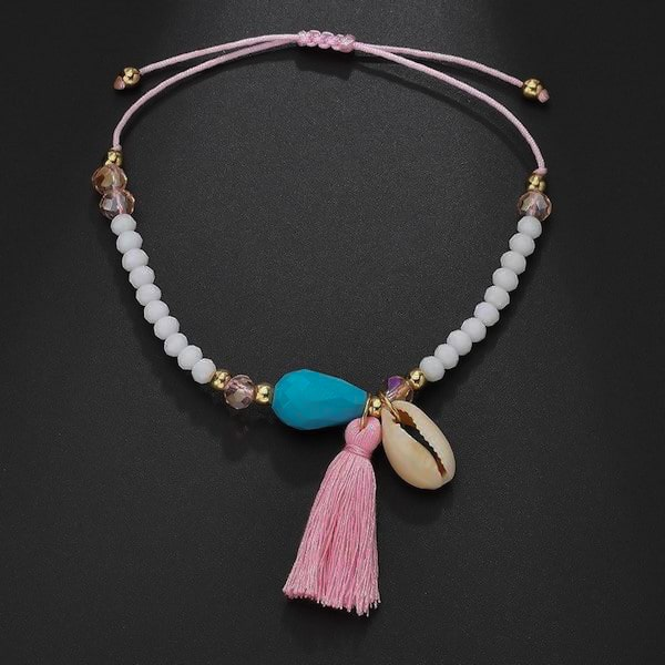 Beaded tassel cowrie seashell anklet