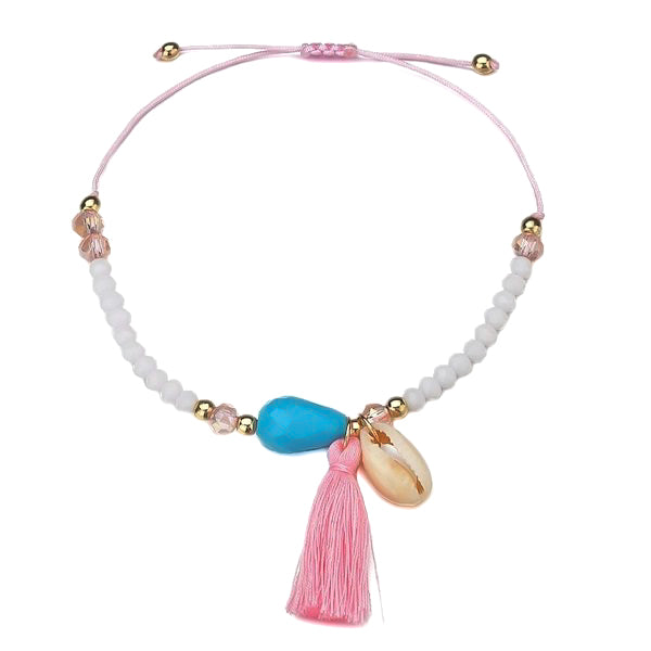 Beaded tassel seashell ankle bracelet