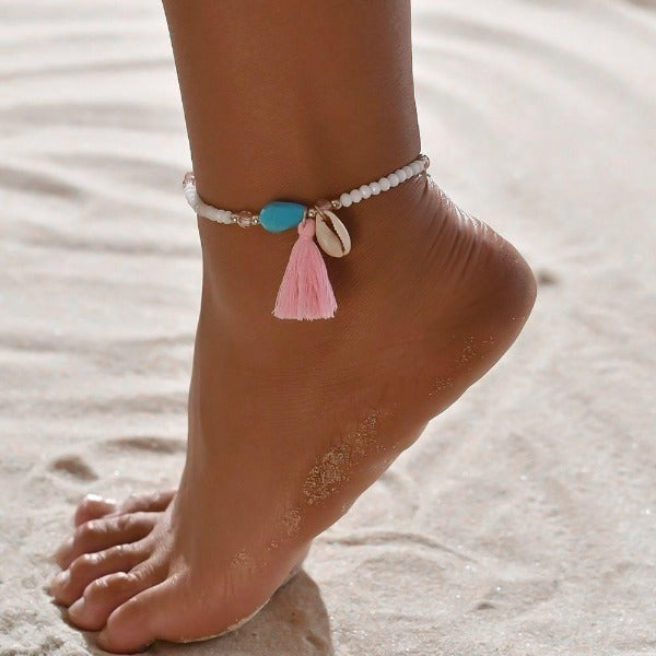 Beaded tassel seashell anklet