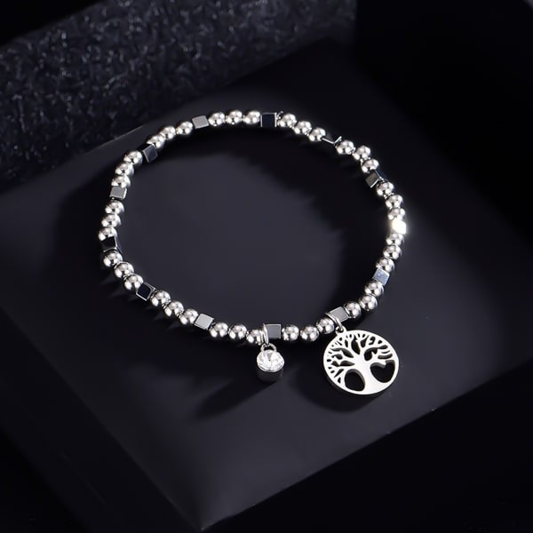 Waterproof tree of life bracelet made of silver-toned stainless steel beads