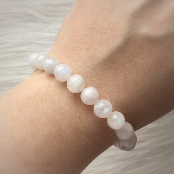 Beaded moonstone bracelet on a woman's wrist