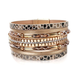 Beige and gold snakeskin leather cuff bracelet for women
