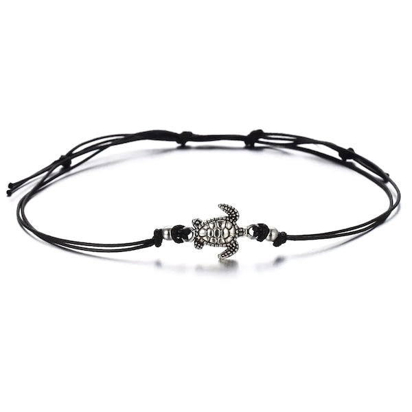 Black cord anklet with turtle charm