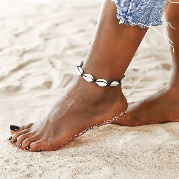Cowrie shell ankle bracelet with black rope