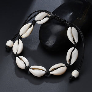 Black cowrie shell anklet