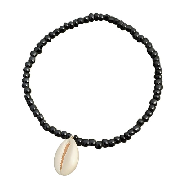 Black beaded seashell anklet