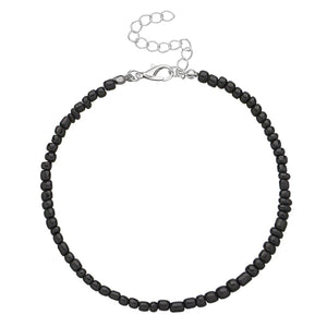 Black handmade beaded anklet