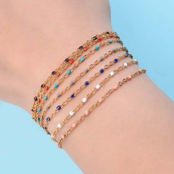 Waterproof gold chain bracelet with blue beads
