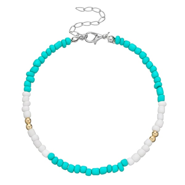 Blue and white handmade beaded anklet with gold details