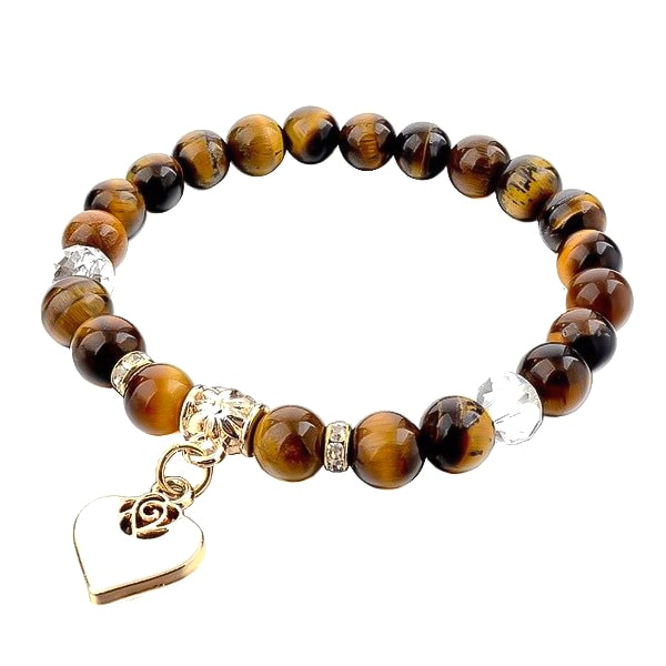 Beaded brown tiger eye bracelet with a gold heart charm