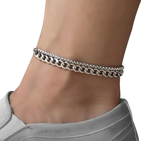 Two-layer silver cuban link and box chain ankle bracelet made of stainless steel