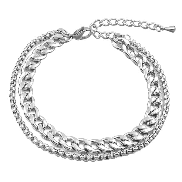 Two-layer silver cuban link and box chain anklet made of stainless steel