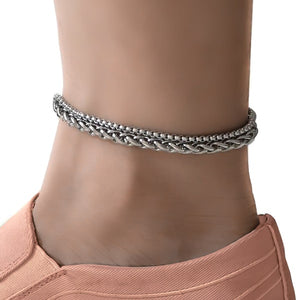 Stainless steel two-layer chain anklet