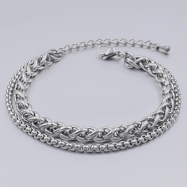 Two-layer silver wheat and box chain ankle bracelet made of stainless steel