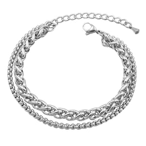 Two-layer silver wheat and box chain anklet made of stainless steel