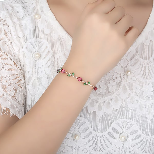 Colored rose crystal bracelet on a woman's wrist