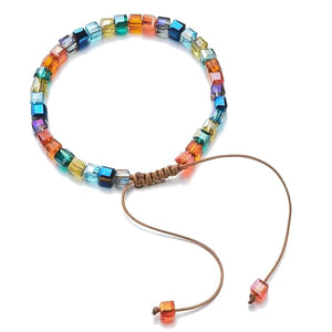 Handmade bracelet with colorful square crystal beads