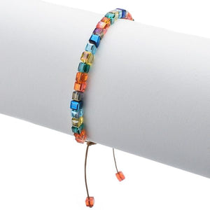 A colorful beaded square crystal bracelet for women